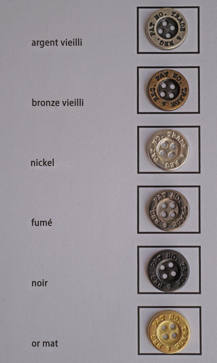 Carte couleur métal (rubriques Boutons et Embouts , ?illets et Boucles)